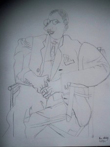 My son's copy of a Picasso portrait of Igor Stravinsky