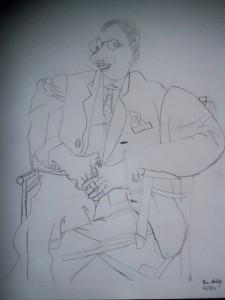 My son's copy of a Picasso portrait of Igor Stravinsky